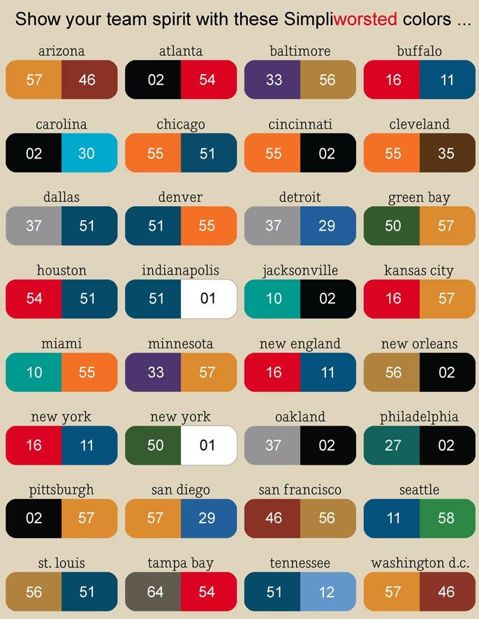 NFL Football Team Color Chart | So find your city name, get your sale yarn 'n knit some team spirit!