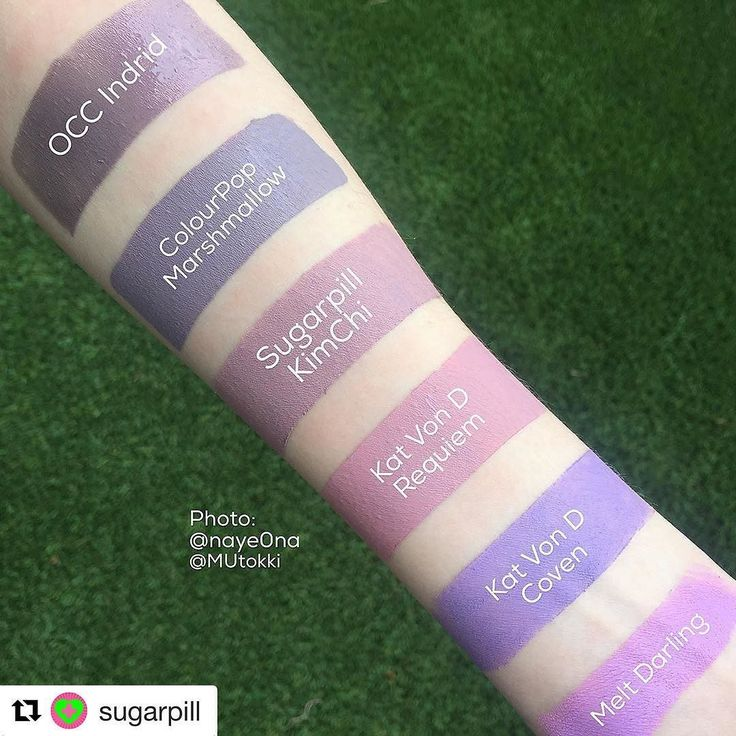 Wondering how our #Sugarpill #KimChi liquid lipstick compares to other brands? Just take a look! Kim Chi is a matte lavender mauve with transparent aqua and violet sparkles! Plus it's got a tasty, dnut-y smell!