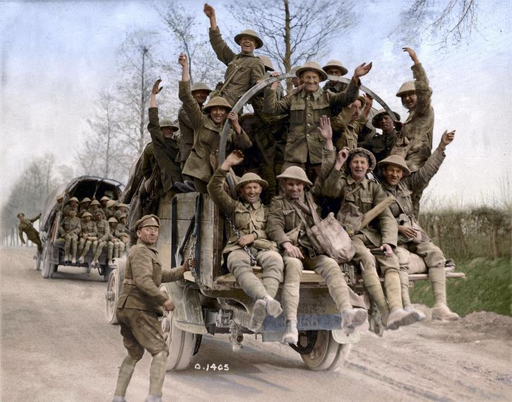 Canadian soldiers returning from Vimy Ridge in France, May, 1917.