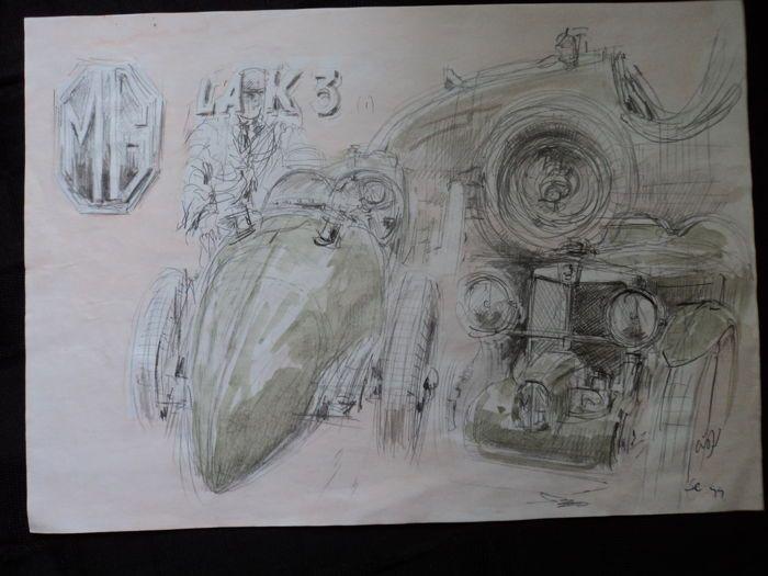 """1 originele aquarel """"MG"""" - Francois Chevalier - ongeveer 30 cm x 21 cm  Chevalier is een wereld beroemde kunstschilder van auto's vliegtuigen racen scènes etc. vanuit Le Castellet Frankrijk.Verzekerde en geregistreerde verzending.  EUR 20.00  Meer informatie"""