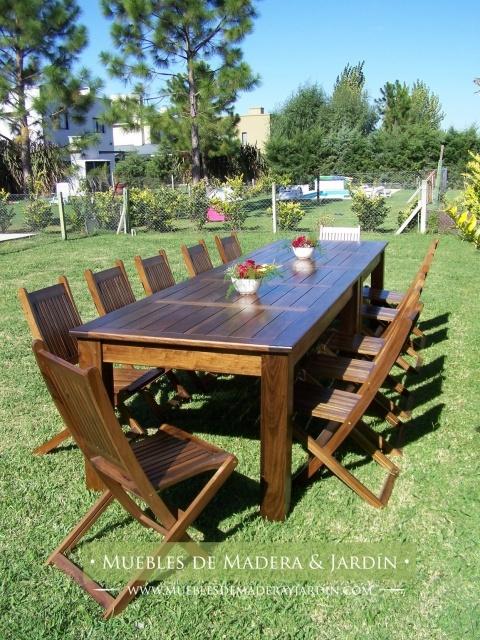 Mesa para exterior en madera de peteribi mesas for Mesas para patio
