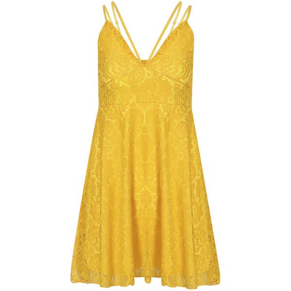 Yoins Yellow Plunge Lace Pleated Strappy Cami Dress with Lining ($16) ❤ liked on Polyvore featuring dresses, yellow, v neck cami, short dresses, lace camisole, lace camis and yellow dress