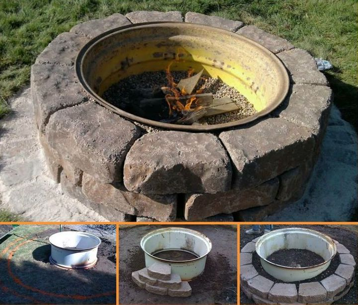 Here's a fire pit that looks great and could totally be DIYed. If you have access to some cheap second-hand tractor tyres and some cheap pavers, you could whip this up in a weekend. Tally ho!
