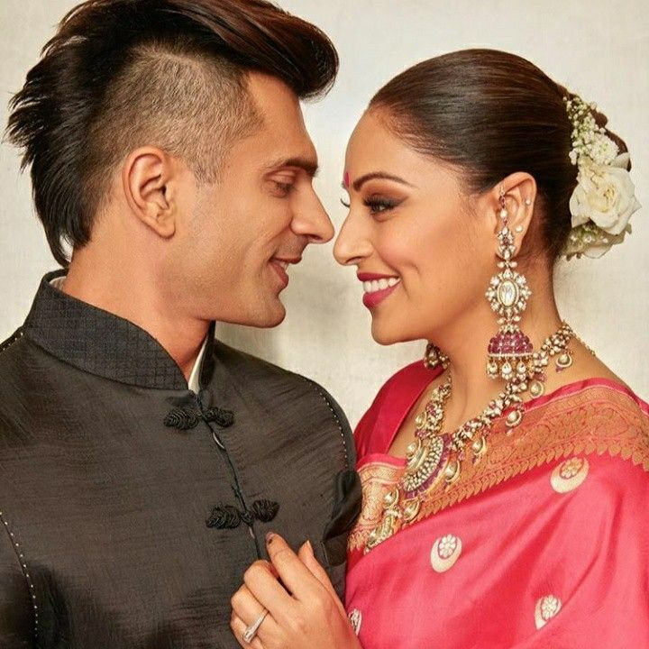 Karan Singh Grover And Bipasha Basu In Diwali Party Indian Bridal Hairstyles Bun Hairstyles Bridal Hairdo