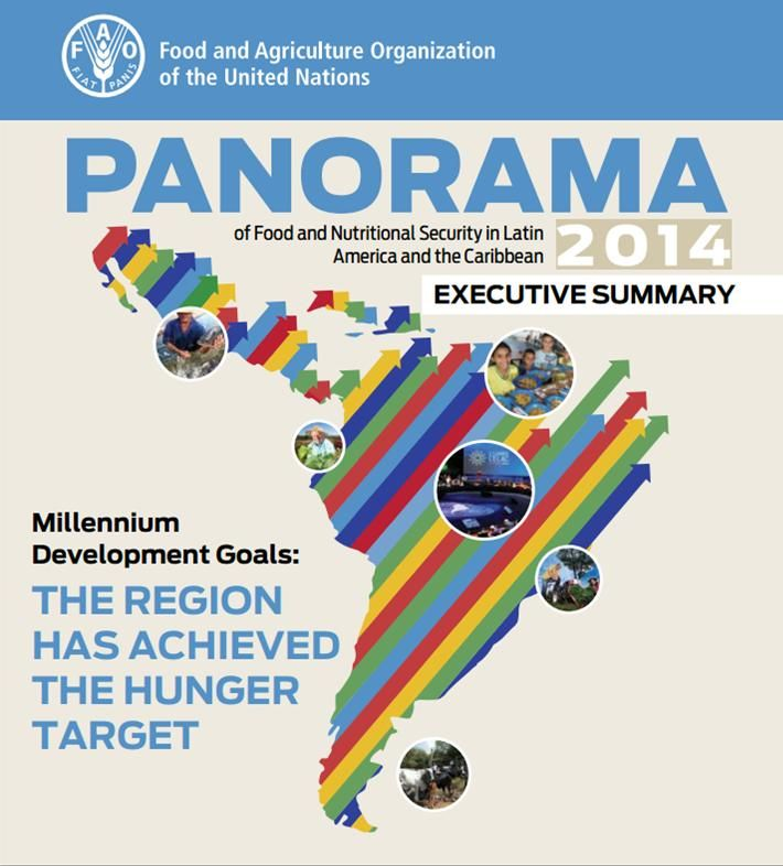 Panorama of Food and Nutritional Security in Latin America and the Caribbean, 2014. Executive summary (EBOOK) http://www.fao.org/3/a-i4230e.pdf A year before the deadline for meeting the Millennium Development Goals the region has achieved the goal of halving its proportion of people affected by hunger. Latin America and the Caribbean (LAC) has -as a wholeachieved the 1C goal of the first MDG : halving the prevalence (%) of hunger in the region.