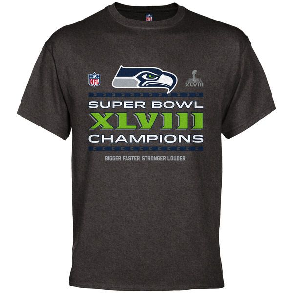 Seattle Seahawks Super Bowl XLVIII Champions Trophy Collection Locker Room T-Shirt - Charcoal - $15.99