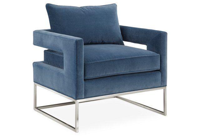 Bevin Accent Chair, Silver/Harbor Velvet