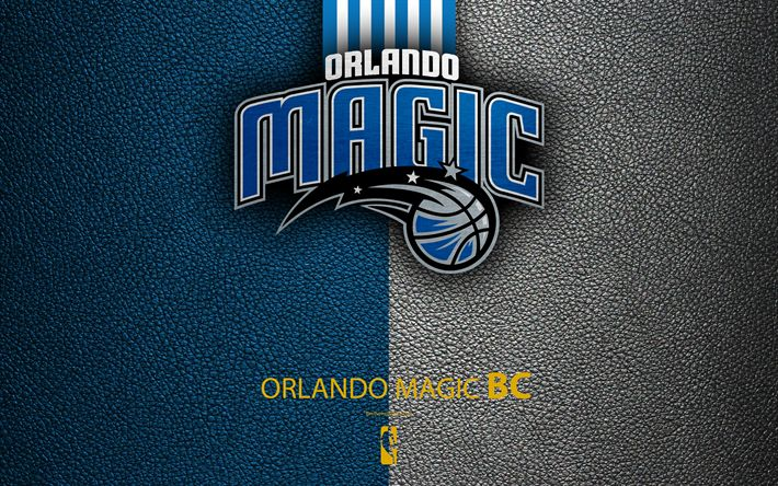Download wallpapers Orlando Magic, 4k, logo, basketball club, NBA, basketball, emblem, leather texture, National Basketball Association, Orlando, Florida, USA, Southeast Division, Eastern Conference