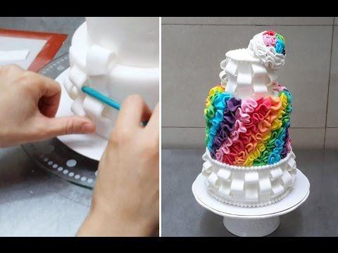 Rainbow Ombre Cake - How To by CakesStepbyStep - YouTube