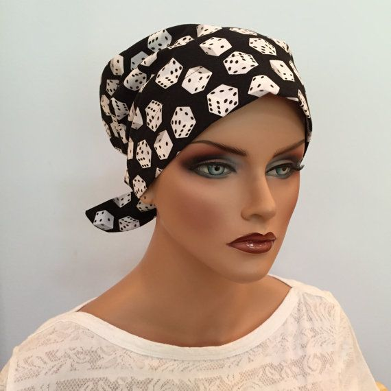 Sandra Pre-Tied Scarf - Casino Royale - A Women's Surgical Scrub Cap, Cancer, Chemo, Alopecia, Hat, Head Cover Fitted Scarf for women.