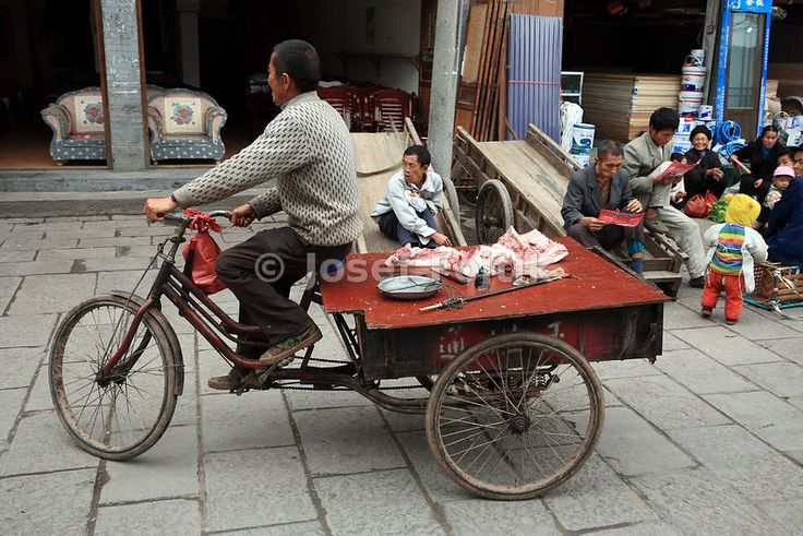Meet seller on a tricycle, Fenghuang Town, Hunan, China