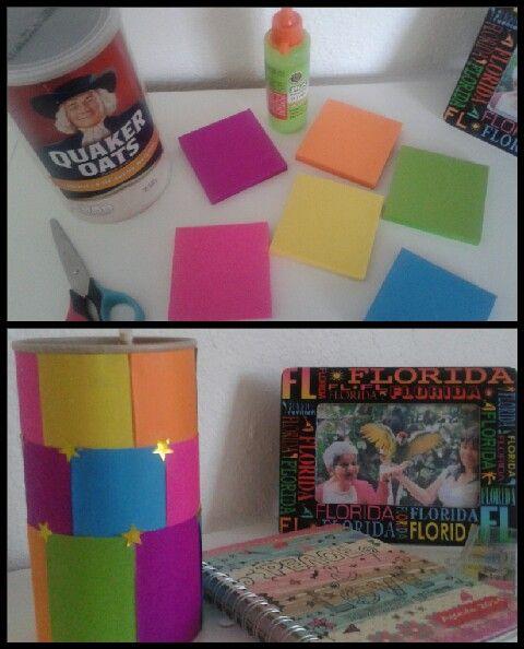 Portalapices. Envase de Avena forrado con post it