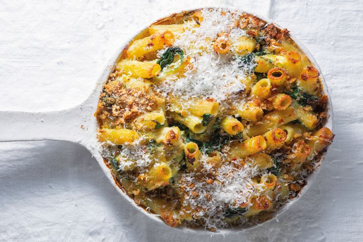Baked rigatoni with ricotta shallots and spinach