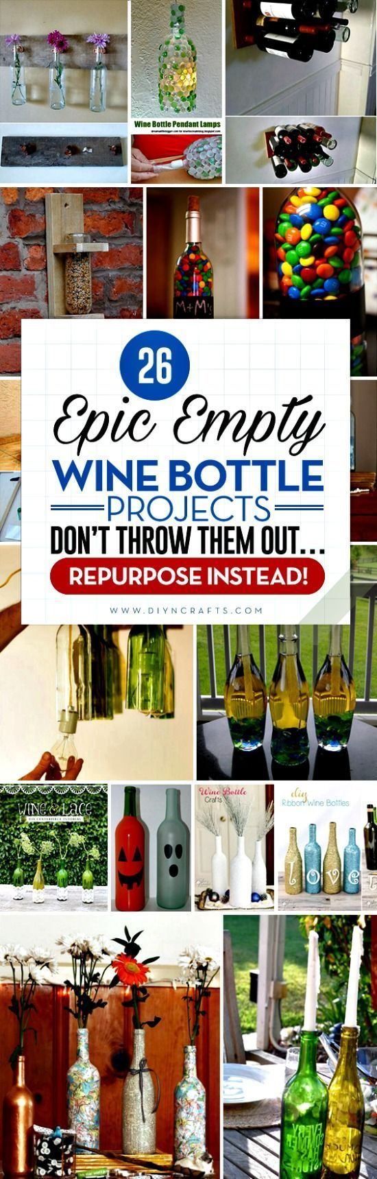 26 Epic Empty Wine Bottle Projects – Don't Throw them Out… Repurpose Instead! - Wine bottles come in all different shapes, sizes and hues, and those diverse qualities make them such versatile objects when it comes to upcycling or repurposing. I was rather