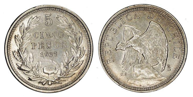 https://flic.kr/p/SbnhWW   5 pesos 1927 So Chile   0.9 Silver Mintage: 965.000 Designer: Oscar Roty (FR)
