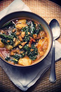 ROASTED TOMATO AND ROSEMARY SOUP WITH KALE AND POTATOES.