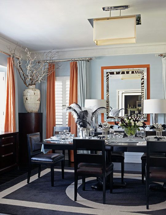 Modern Chic Light Blue And Orange Dining Room Design