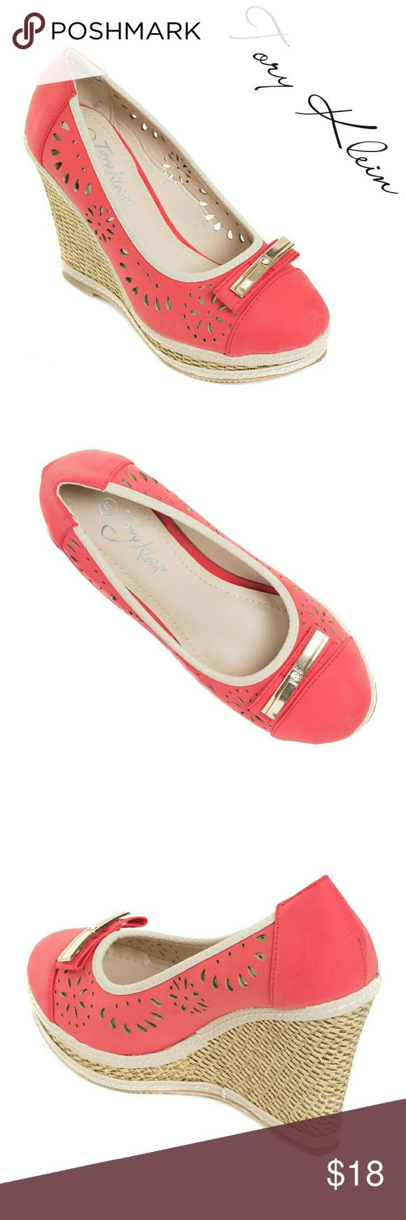 "Women Wedge Sandals with Bow, HW-1677, Red Brand new Tory K woman perforated red espadrilles in PU leather with a flat bow buckle in the front. Platform measures about 4"". Cushioned sole adds to the comfort. Very festive summer shoe! A true statement in ladies shoes fashion! Tory K  Shoes Wedges"
