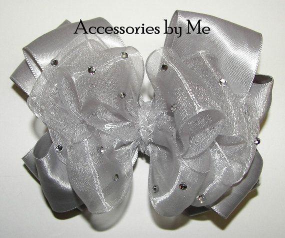 Glitzy Silver Gray Hair Bow Organza Satin Girls by accessoriesbyme