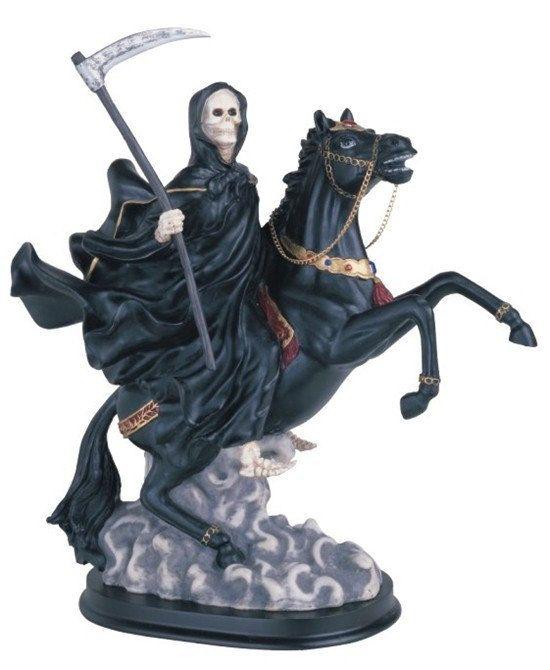 "Santa Muerte estatua 12"" - Holy Death Grim Reaper Riding Horse Statue statue 312.58BK"
