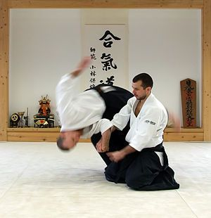 """Aikido (合気道) is a Japanese martial art developed by Morihei Ueshiba as a synthesis of his martial studies, philosophy, and religious beliefs. Aikido is often translated as """"the Way of unifying (with) life energy"""" or as """"the Way of harmonious spirit .."""