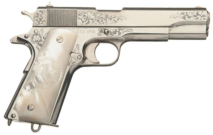 Magnificent Cased Factory Master Engraved (George Spring) Colt One-of-a-Kind Colt 1911 Government Model Colt Collectors Association 1986 Auction Gun with Conversion Kit and Factory Letter