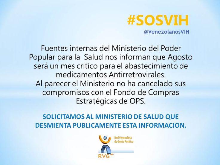 """RVG+ en Twitter: """"Requerimos respuesta urgente de las autoridades sanitarias del pais #Venezuela #SOSVIH https://t.co/9MkdBKHlAv"""""""