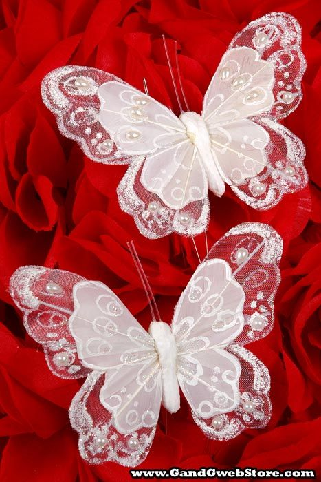 "Would be pretty tied on a red bow at the end of outdoor seating (red/black colors)... 4"" WEDDING BUTTERFLY W/ GLITTER AND PEARL WHITE PKG/6"