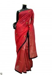 Red saree with beautiful hand work on a premium cotton fabric