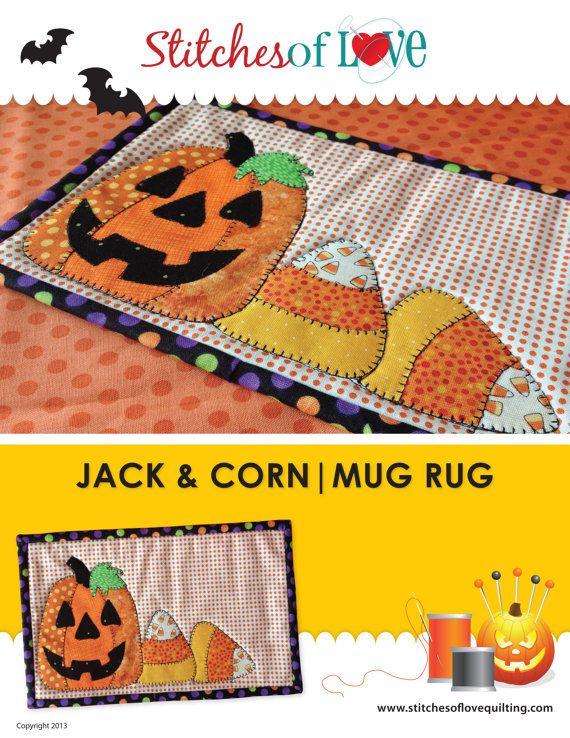Jack and Corn Halloween Mug Rug Pattern by StitchesofLoveQuilts, $4.00