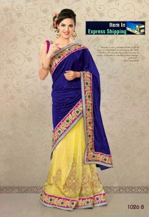 Blue And Yellow Color Geogette And Shimmer Party Wear Saree. Sale : $164.00