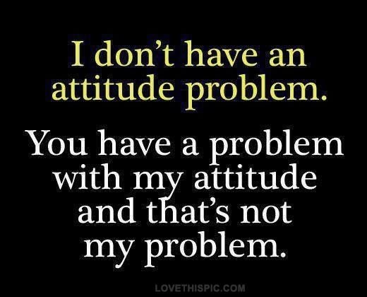 I don't have an attitude problem. You have a problem with my attitude and that's not my problem.