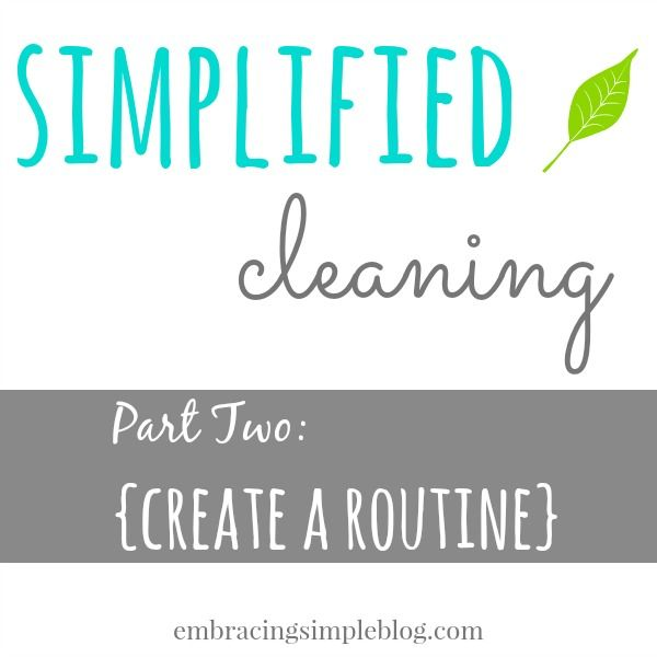 Part 2 of the Simplified Cleaning Series - Cleaning Routine. Use this guide to create a cleaning routine that will work for you and your home!