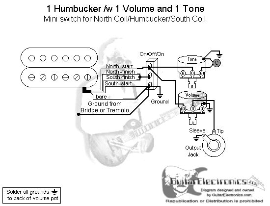 1 Humbucker/1 Volume/1 Tone/North Coil-Humbucker-South