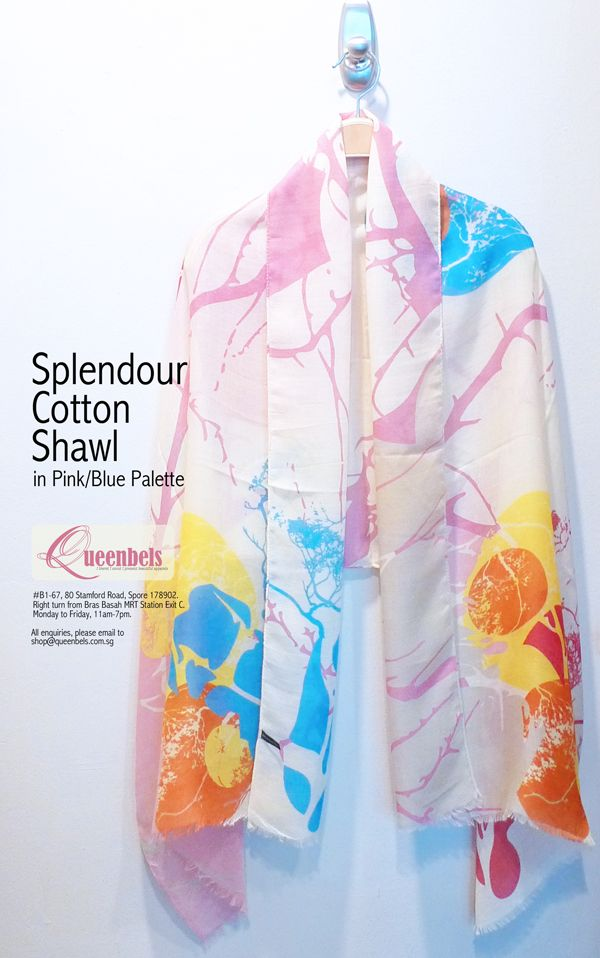 Shawl is a very versatile accessory. You can use it to shield yourself from the harsh cold air in air-conditioned places, like the movie theatres. You can use it as a sash for your denim skirts too. Now available in store. To purchase online, please email to shop@queenbels.com.