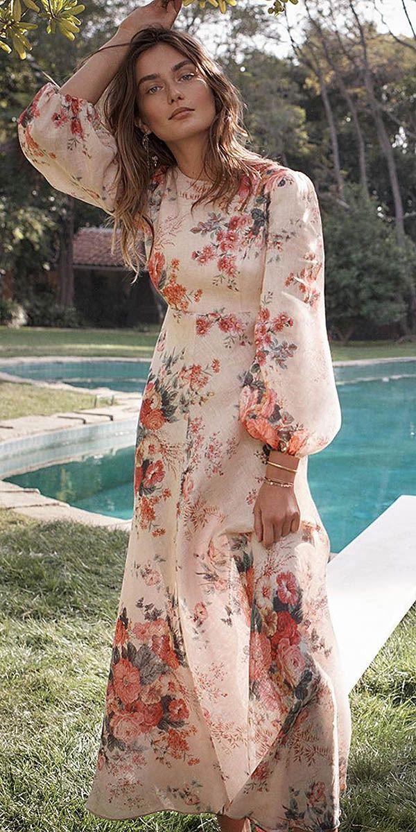 18 Chic Summer Wedding Guest Dresses Wedding Dresses Guide Floral Dress Wedding Guest Wedding Guest Dress Summer Garden Wedding Dress Guest