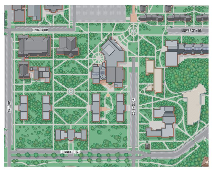 college campus map illustration Armstrong State University