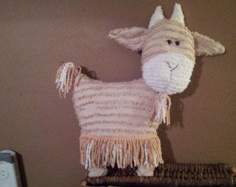 #goatvet likes this #goat pillow made from vintage chenille bedspread
