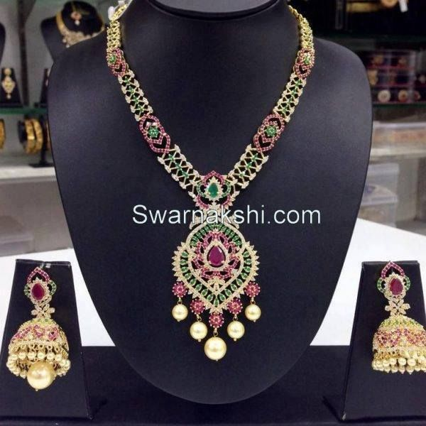 cz short necklace.. Buy Online or Offiline SHOWROOM: 3rd Phase, KPHB, Hyderabad, Diag Opp MORE Supermarket, half km from Manjeera mall towards Hitech city  Contact : +91 95811 93795  WEBSITE: www.swarnakshi.com