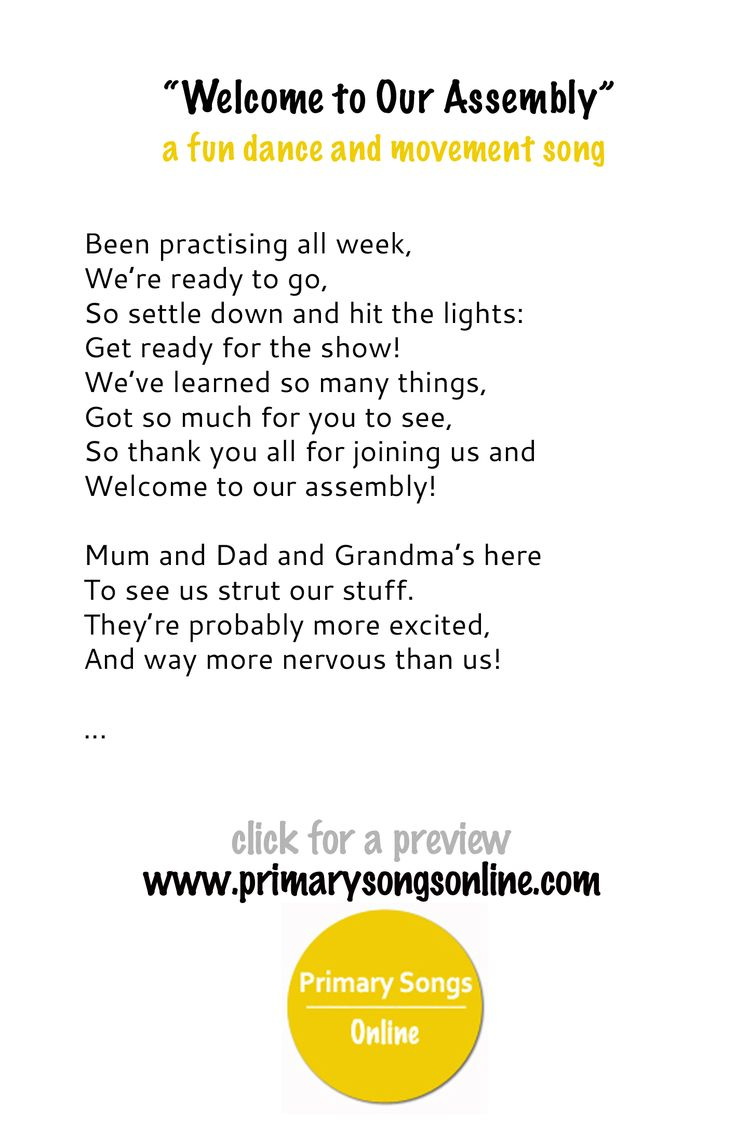 An upbeat assembly opening song for children, children's music.  An easy assembly idea to include a musical performance.