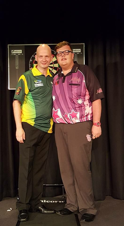 Spida Sports Ambassador Mitchell Clegg meeting one of the worlds best dart players Jamie Caven  #Darts #Dartshirts #Spidasports