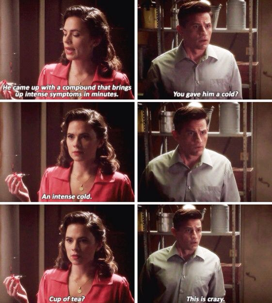 """""""You gave him a cold?"""" - Daniel and Peggy #AgentCarter"""