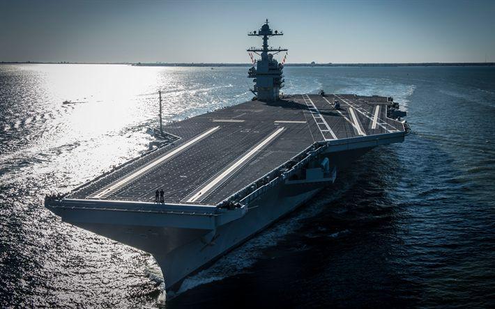 Download wallpapers USS Gerald R Ford, CVN-78, 4k, American aircraft carrier, US Navy, US, Nimitz, deck