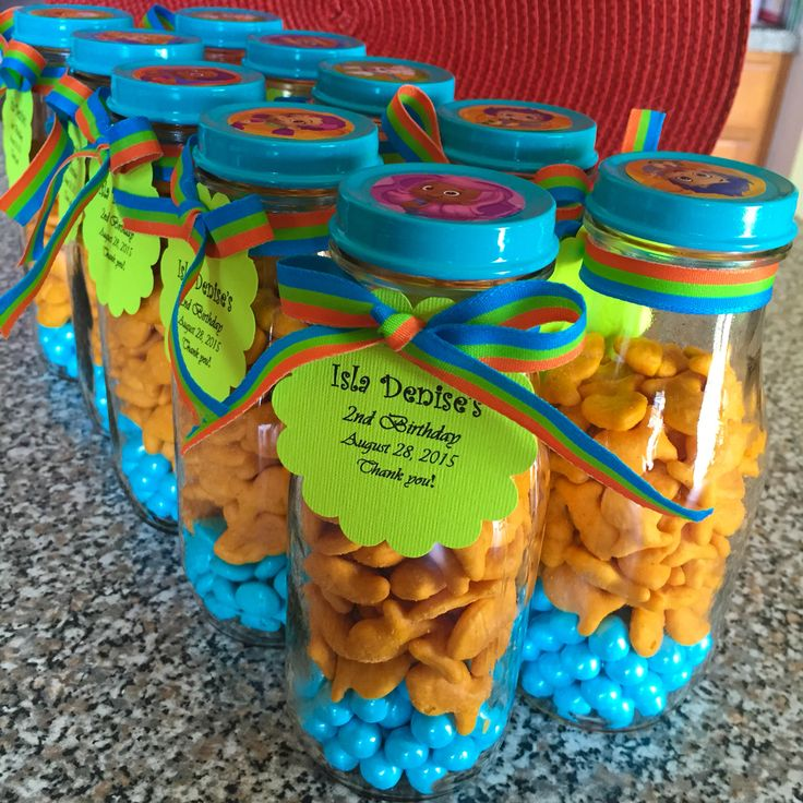 bubble guppies favors using starbucks bottles, sixlets and goldfish crackers.