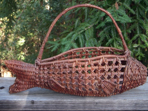 Sturdy Fish Shaped Woven Wicker Basket Bottle Holder with Handle | eBay
