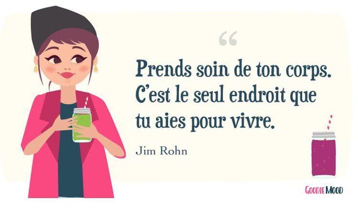 """""""Prends soin de ton corps, c'est le seul endroit que tu aies pour vivre."""" #alimentation #regime #jimrohn 💖"""