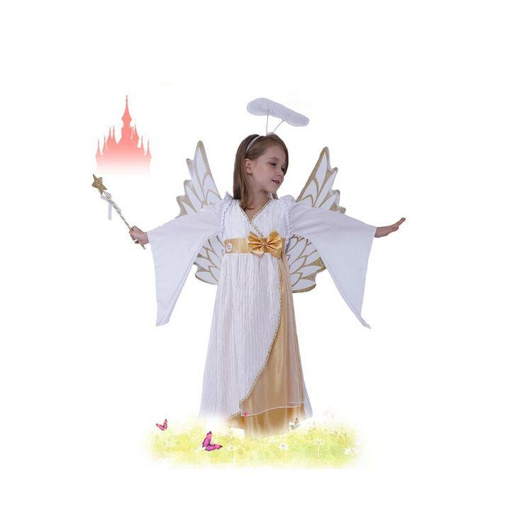 Free Shipping!!! Little Girls Cute Snow Angel Princess Costumes Halloween Party Dress Kids Girl Children Cosplay