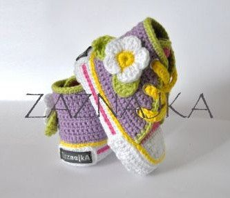 Crochet baby  sneakers  crochet shoes flower by UgglaLand on Etsy, $48.00