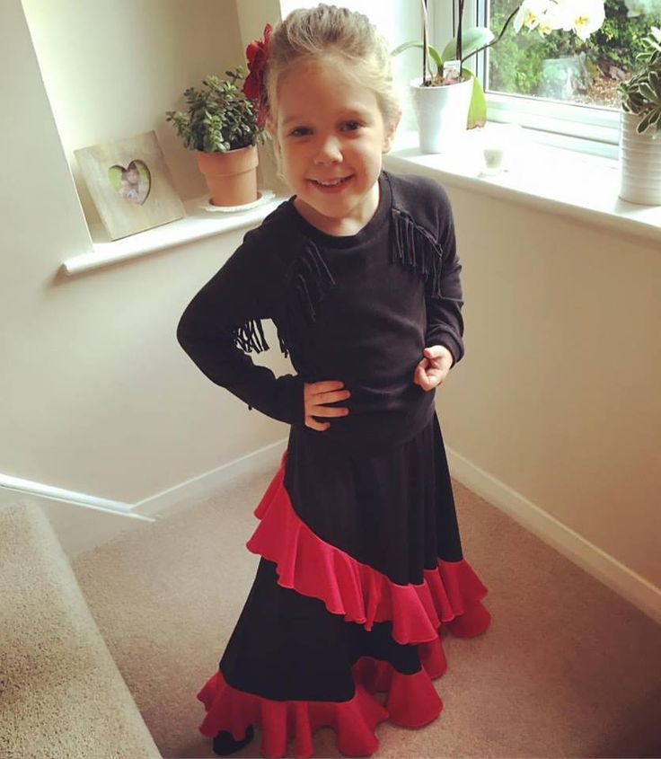"""The beautiful Lily in her """"Vuelo""""skirt is going to her Spanish day at school! http://www.ambienteflamenco.com/shop.php"""