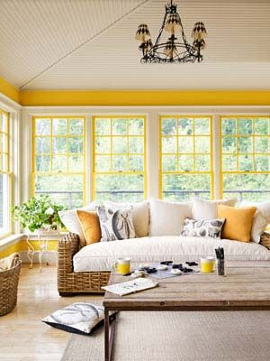 ceiling and paint color: Idea, Living Rooms, Yellow Wall, Sunrooms, Color, Sun Porches, Window Shades, Window Panes, Sun Rooms